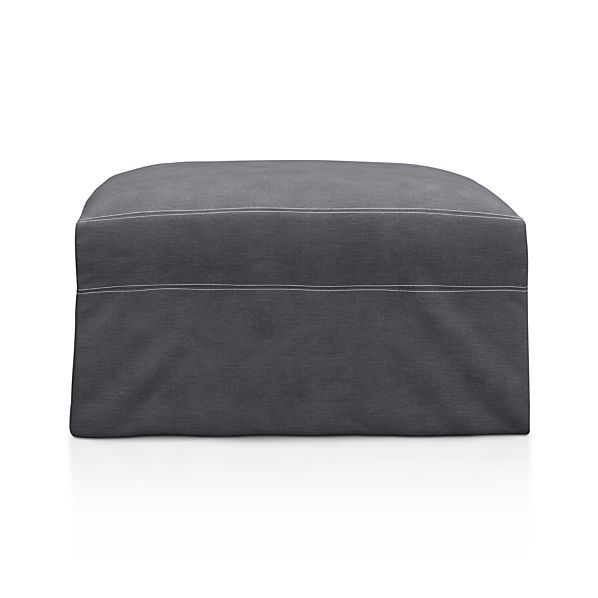 "Lounge Slipcovered 32"" Ottoman with Casters"