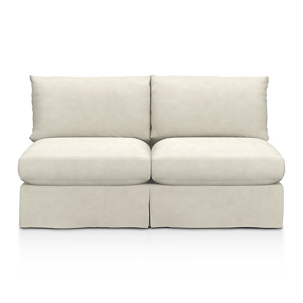 Slipcover Only for Lounge Armless Loveseat - Dove with Contrast