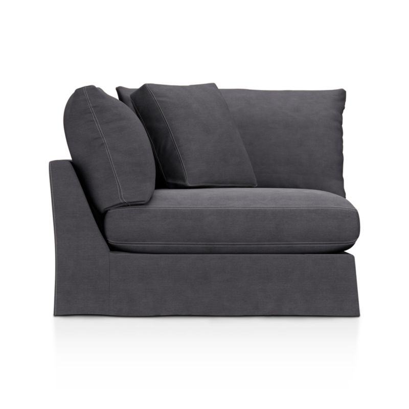 "Introducing a Casual Friday dress code for our popular, laid-back Lounge collection. Smart denim slipcover is tailored with a jumbo double topstitch outlining its high, slim arms and plump, deep cushions.<br /><br />Additional <a href=""http://crateandbarrel.custhelp.com/cgi-bin/crateandbarrel.cfg/php/enduser/crate_answer.php?popup=-1&p_faqid=125&p_sid=DMUxFvPi"">slipcovers</a> available below and through stores featuring our Furniture Collection.<br /><br />After you place your order, we will send a fabric swatch via next day air for your final approval. We will contact you to verify both your receipt and approval of the fabric swatch before finalizing your order.<br /><br /><NEWTAG/><ul><li>Eco-friendly construction</li><li>Certified sustainable, kiln-dried hardwood frame</li><li>Seat cushion is multi-layer soy- or plant-based poly foam wrapped in fiber down blend and encased in downproof ticking</li><li>Back c"