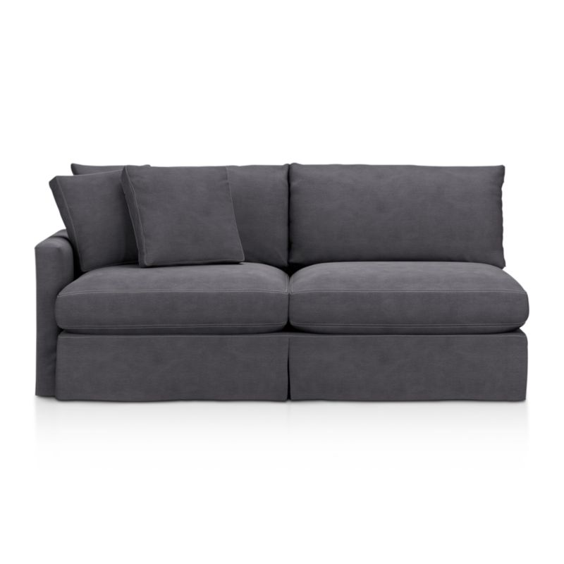 "Tailored to fit our Lounge Slipcovered Left Arm Sofa, smart denim slipcover is tailored with a kickpleat skirt and jumbo double topstitch outlining its high slim arm and plump, deep cushions.<br /><br />Additional <a href=""http://crateandbarrel.custhelp.com/cgi-bin/crateandbarrel.cfg/php/enduser/crate_answer.php?popup=-1&p_faqid=125&p_sid=DMUxFvPi"">slipcovers</a> available below and through stores featuring our Furniture Collection.<br /><br />After you place your order, we will send a fabric swatch via next day air for your final approval. We will contact you to verify both your receipt and approval of the fabric swatch before finalizing your order.<br /><br /><NEWTAG/><ul><li>100% cotton</li><li>Machine washable</li><li>Jumbo contrast topstitching detail</li><li>Made in North Carolina, USA</li></ul><br />"