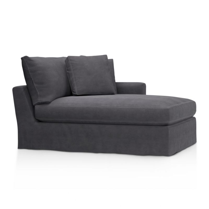 "Tailored to fit our Lounge Slipcovered Left Arm Chaise, smart denim slipcover is tailored with a kickpleat skirt and jumbo double topstitch outlining its high slim arm and plump, deep cushions.<br /><br />Additional <a href=""http://crateandbarrel.custhelp.com/cgi-bin/crateandbarrel.cfg/php/enduser/crate_answer.php?popup=-1&p_faqid=125&p_sid=DMUxFvPi"">slipcovers</a> available below and through stores featuring our Furniture Collection.<br /><br />After you place your order, we will send a fabric swatch via next day air for your final approval. We will contact you to verify both your receipt and approval of the fabric swatch before finalizing your order.<br /><br /><NEWTAG/><ul><li>100% cotton</li><li>Machine washable</li><li>Jumbo contrast topstitching detail</li><li>Made in North Carolina, USA</li></ul><br />"