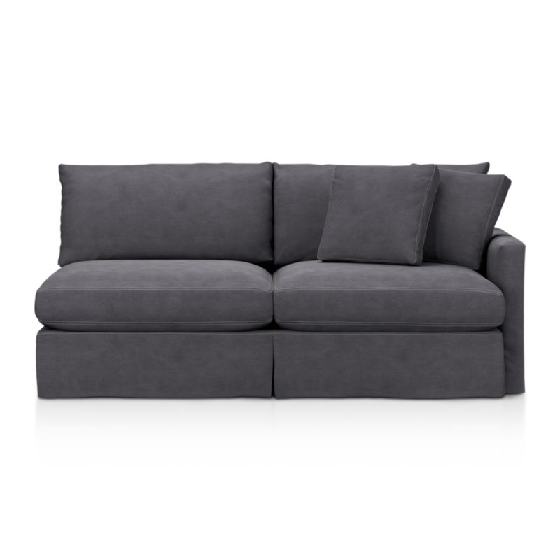 """Tailored to fit our Lounge Slipcovered Right Arm Sofa, smart denim slipcover is tailored with a kickpleat skirt and jumbo double topstitch outlining its high slim arm and plump, deep cushions.<br /><br />Additional <a href=""""http://crateandbarrel.custhelp.com/cgi-bin/crateandbarrel.cfg/php/enduser/crate_answer.php?popup=-1&p_faqid=125&p_sid=DMUxFvPi"""">slipcovers</a> available below and through stores featuring our Furniture Collection.<br /><br />After you place your order, we will send a fabric swatch via next day air for your final approval. We will contact you to verify both your receipt and approval of the fabric swatch before finalizing your order.<br /><br /><NEWTAG/><ul><li>100% cotton</li><li>Machine washable</li><li>Jumbo contrast topstitching detail</li><li>Made in North Carolina, USA</li></ul><br />"""