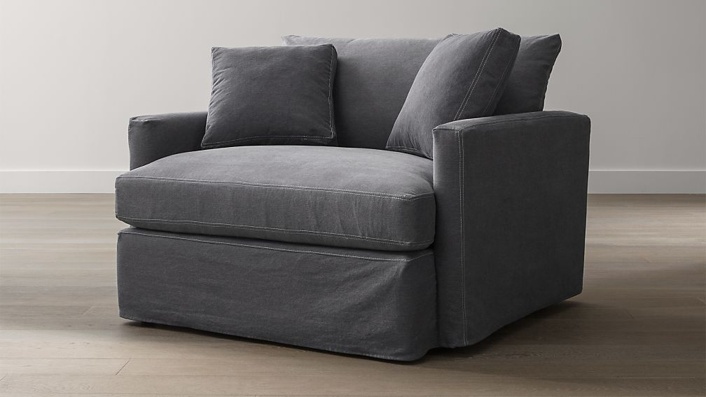 Lounge Slipcovered Chair and a Half Charcoal with Contrast Saddle Stiching