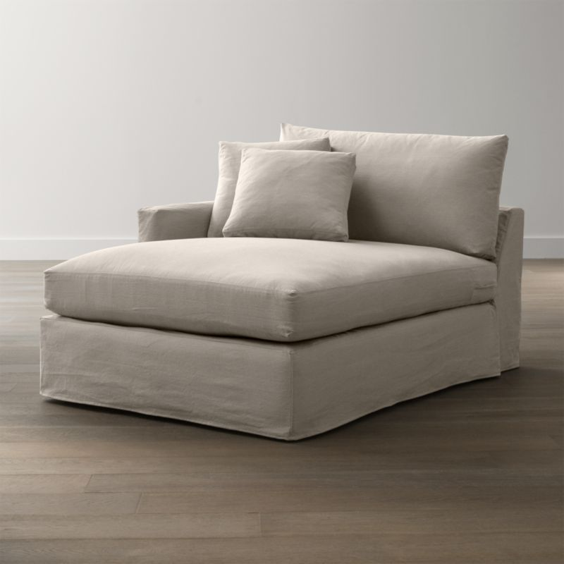 "Tailored to fit our Lounge Slipcovered Left Arm Chaise, smart denim slipcover is tailored with a kickpleat skirt and jumbo double topstitch outlining its high slim arm and plump, deep cushions.<br /><br />Additional <a href=""http://crateandbarrel.custhelp.com/cgi-bin/crateandbarrel.cfg/php/enduser/crate_answer.php?popup=-1&p_faqid=125&p_sid=DMUxFvPi"">slipcovers</a> available below and through stores featuring our Furniture Collection.<br /><br />After you place your order, we will send a fabric swatch via next day air for your final approval. We will contact you to verify both your receipt and approval of the fabric swatch before finalizing your order.<br /><br /><NEWTAG/><ul><li>100% cotton</li><li>Machine washable</li><li>Jumbo contrast saddle stitch detail</li><li>Made in North Carolina, USA</li></ul><br />"