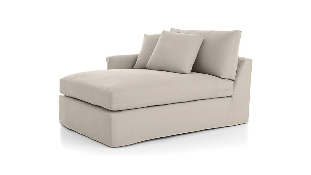 Lounge Slipcovered Left Arm Chaise Lounge