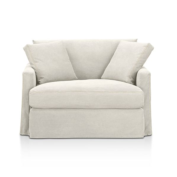 Slipcover ly for Lounge Chair and a Half Dove with Contrast Saddle Stichi