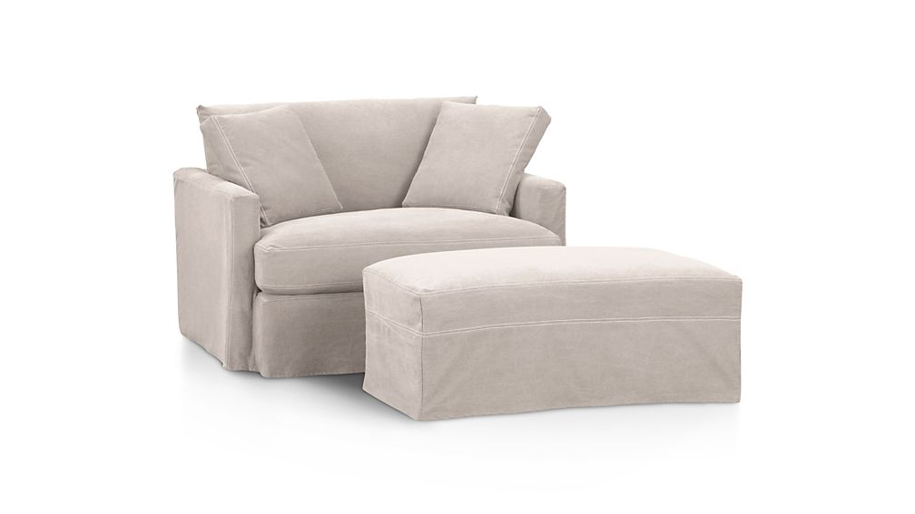 """Lounge Slipcovered 37"""" Ottoman with Casters"""