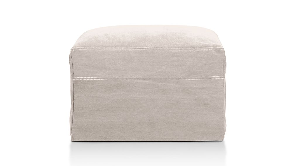 "Lounge Slipcovered 37"" Ottoman with Casters"