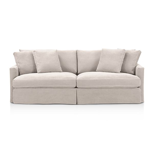 93 sofa dove with contrast saddle stiching crate and barrel