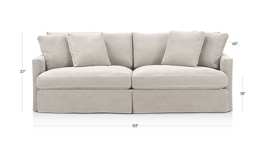 "Lounge Slipcovered 93"" Sofa Dimensions"