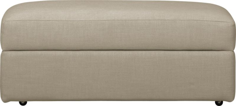 Family-style informality shapes up with clean, modern lines. Rectangular ottoman on casters fits neatly with coordinating Lounge collection piece. Lounge sectional also available.<br /><br />After you place your order, we will send a fabric swatch via next day air for your final approval. We will contact you to verify both your receipt and approval of the fabric swatch before finalizing your order.<br /><br /><NEWTAG/><ul><li>Eco-friendly construction</li><li>Certified sustainable, kiln-dried hardwood frame</li><li>Cushion is multilayer soy- or plant-based polyfoam wrapped in fiber-down blend</li><li>Flexolator spring suspension</li><li>Upholstery fabric with topstitch detail</li><li>Casters</li