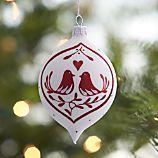 Love Bird White Drop Ornament