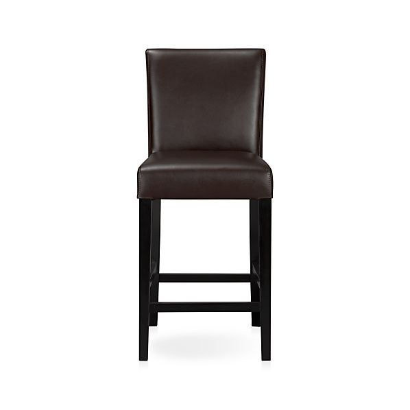 "Lowe Chocolate 24"" Leather Counter Stool"