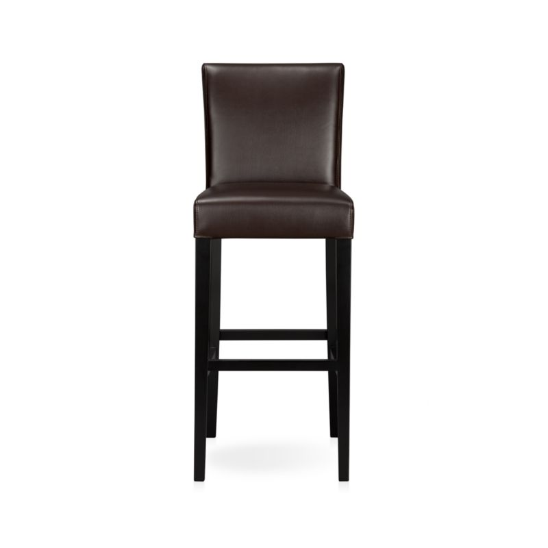 """The style is classic Parsons. The colors are both fashion-forward and classic. The look is bold and modern in soft pebbled bicast leather with double saddle-stitching. Crafted of solid birch with legs stained a rich ebony.<br /><br /><NEWTAG/><ul><li>Solid birch and low-emission engineered wood</li><li>Web suspension</li><li>Bicast leather with foam padding</li><li>Double saddle-stitch detail</li><li>30""""H seat sized for bars</li><li>Designed and tested for use in commercial spaces such as offices, restaurants and hotels</li><li>Made in China</li></ul><br />"""
