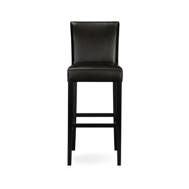 Deep onyx black bicast leather with soft, pebbled texture and double saddle-stitch detailing wraps the classic Parsons-style lines of our Lowe bar stool, designed and tested for use in commercial spaces such as offices, restaurants and hotels. Our stylish and contemporary stool has a seat especially designed to pull up to the bar. <NEWTAG/><ul><li>Solid birch and engineered wood</li><li>Corner blocked joinery</li><li>Web suspension</li><li>Foam cushioning with fiber wrap</li><li>Legs with ebony finish</li><li>Upholstered in bicast leather with double saddle-stitching</li><li>Designed and tested for use in co