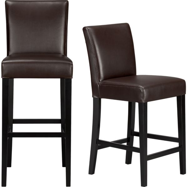 Lowe Chocolate Leather Bar Stools