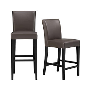 Lowe Smoke Leather Barstools