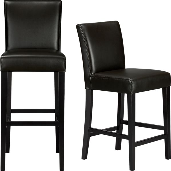 Lowe Onyx Leather Bar Stools