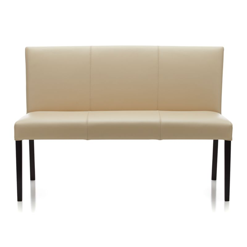 Lowe Ivory Leather Bench in Dining Benches : Crate and Barrel