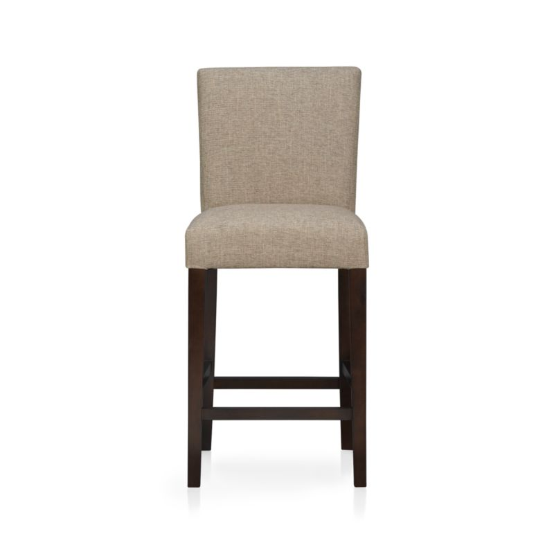 """The style is classic Parsons. The colors are both fashion-forward and classic. The look is bold and modern in finely textured tonal khaki weave. Generous seat makes for comfortable seating at a high dining table or kitchen bar. Crafted of solid birch with legs stained a rich chocolate.<br /><br /><NEWTAG/><ul><li>Solid birch and low-emission engineered wood</li><li>Web suspension</li><li>100% polyester</li><li>Designed and tested for use in commercial spaces such as offices, restaurants and hotels</li><li>24""""H seat sized for counters</li><li>Made in China</li></ul>"""