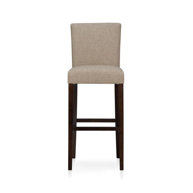 """The style is classic Parsons. The colors are both fashion-forward and classic. The look is bold and modern in finely textured tonal khaki weave. Generous seat makes for comfortable seating at a high dining table or kitchen bar. Crafted of solid birch with legs stained a rich chocolate.<br /><br /><NEWTAG/><ul><li>Solid birch and low-emission engineered wood</li><li>Web suspension</li><li>100% polyester</li><li>Designed and tested for use in commercial spaces such as offices, restaurants and hotels</li><li>30""""H seat sized for bars</li><li>Made in China</li></ul>"""