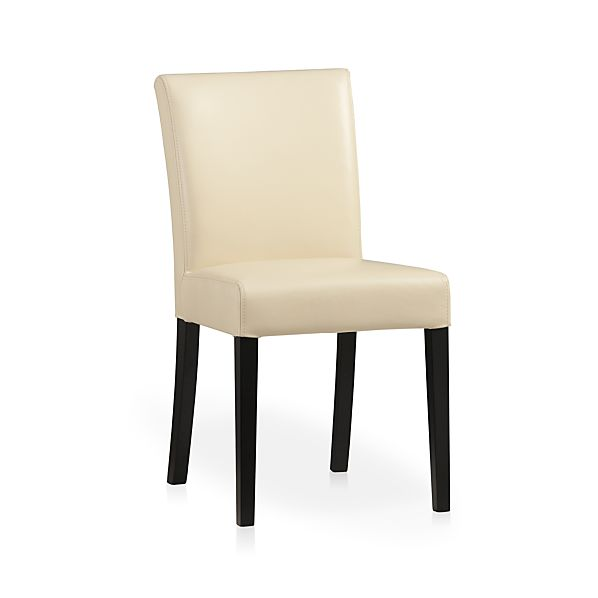 Lowe Ivory Leather Side Chair Crate And Barrel