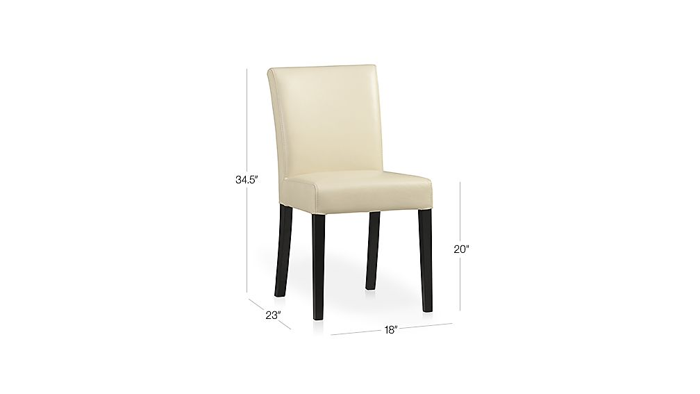 Lowe Ivory Leather Side Chair Dimensions