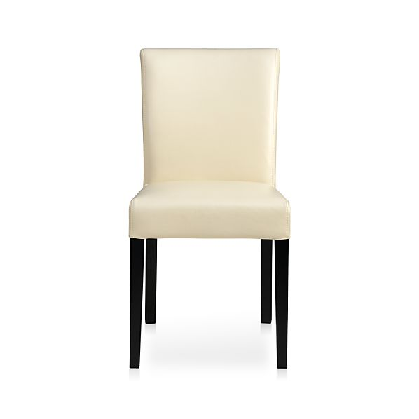 Lowe ivory leather side chair crate and barrel - Crate and barrel parsons chair ...
