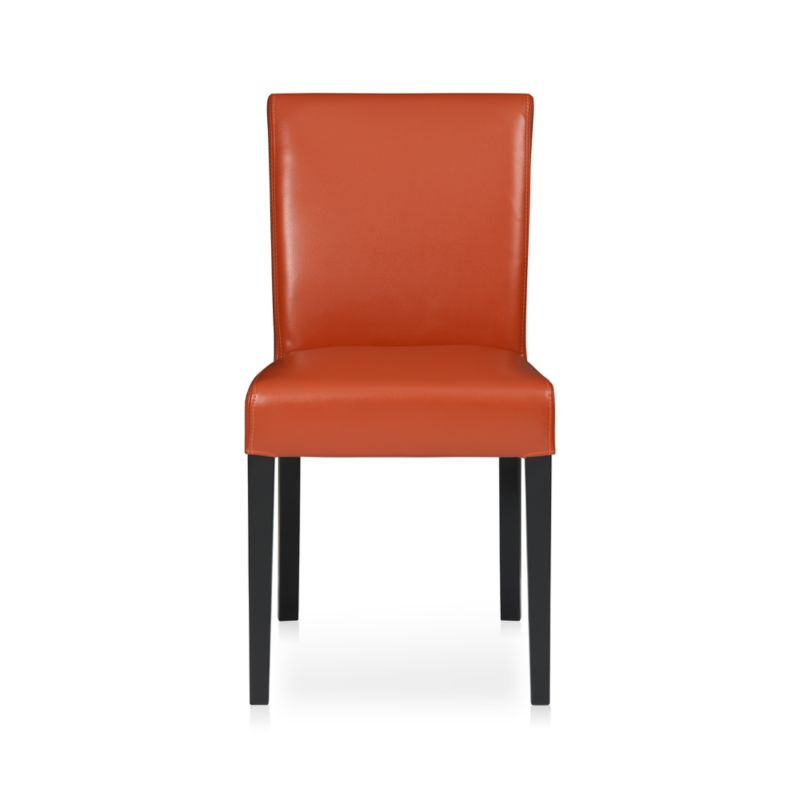 Lowe Persimmon Leather Side Chair In Dining Chairs Crate
