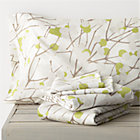 Marimekko Lumimarja Full Sheet Set. Celery. Includes one flat sheet, one fitted sheet and two standard pillowcases.