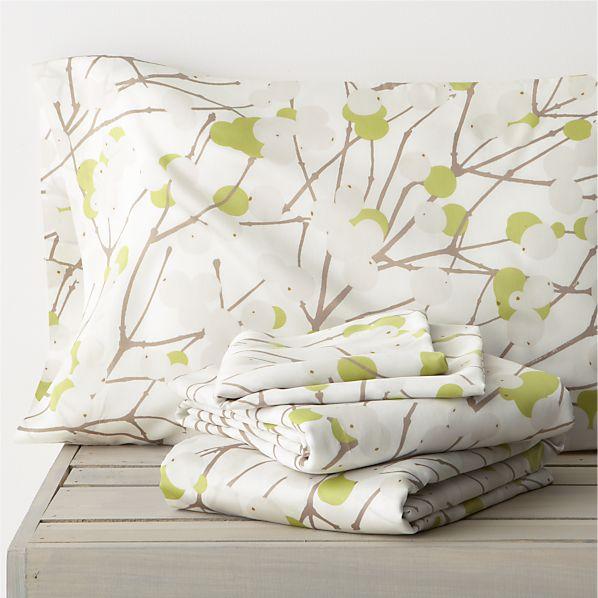 Marimekko Lumimarja Celery Queen Sheet Set