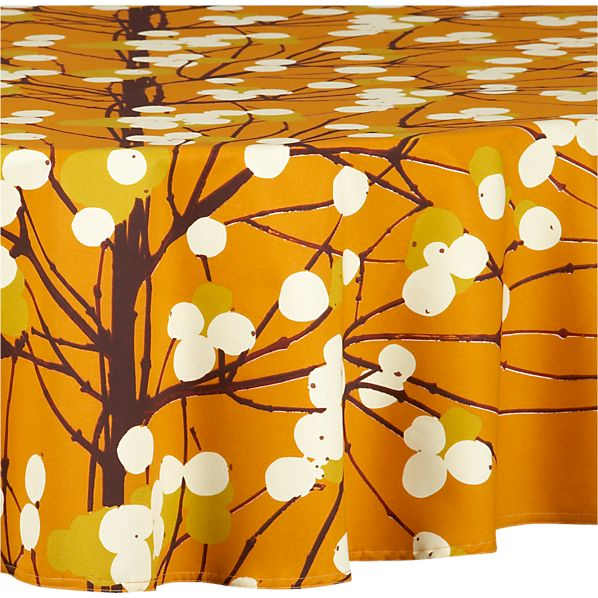 "Marimekko Lumimarja Orange 72"" Round  Tablecloth"