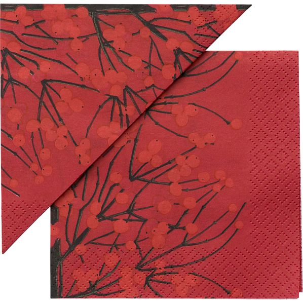 "Set of 20 Marimekko Lumimarja Red Paper 4.75"" Napkins"