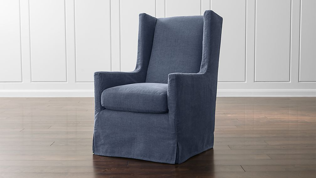 Luxe Slipcovered Swivel Glider Wing Chair Lapis Crate