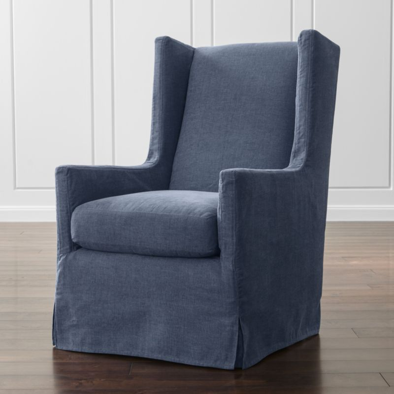 Luxe Slipcovered Swivel Glider Wing Chair