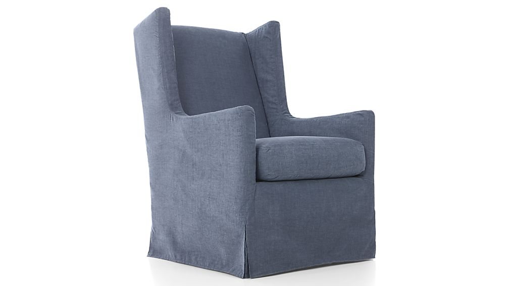Luxe Slipcovered 180 Swivel Wing Chair Lapis Crate And