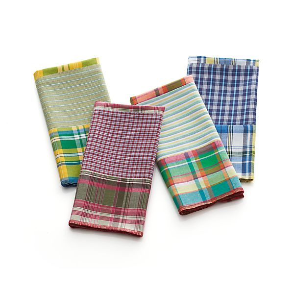 Set of 4 Madras Patch Napkins