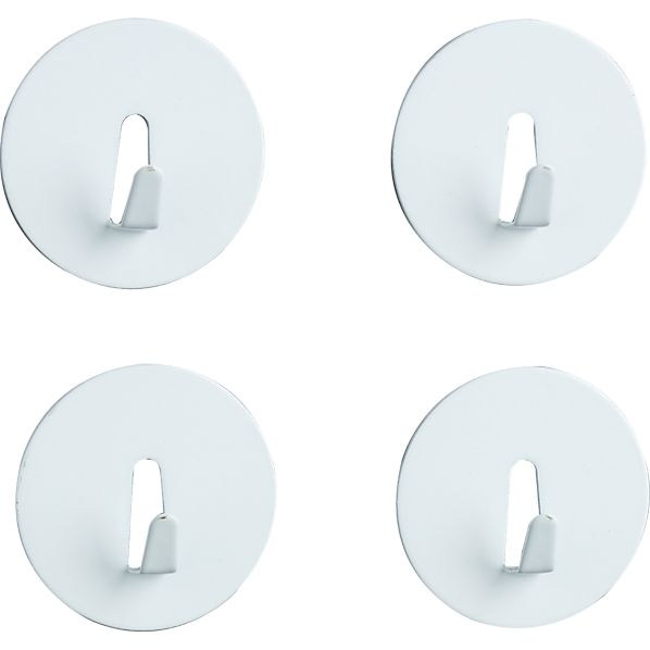 Set of 4 White Mini Magnet Hooks