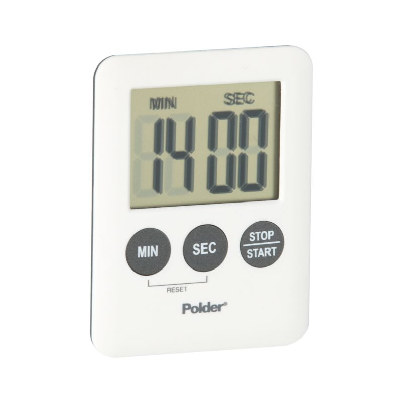 With a magnet on the back, this mini modern timer affixes to any metallic surface for efficient timing up to 100 minutes. Large digital readout in minutes and seconds; one minute alarm.<br /><br /><NEWTAG/><ul><li>Plastic front and buttons</li><li>Rubber and magnet back</li><li>Clean with a damp cloth</li><li>Made in China</li></ul>