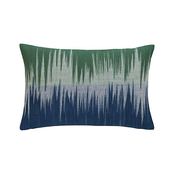 "Malabar Blue and Green 18""x12"" Pillow with Feather-Down Insert"