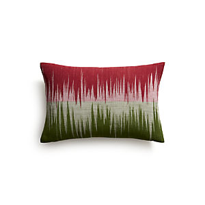 "Malabar Berry and Green 18""x12"" Pillow with Down-Alternative Insert"
