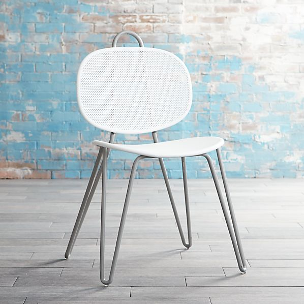 Mallorca Metal Grey and White Side Chair