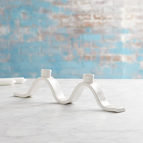 Mallorca Wavy Two Taper Candle Holder