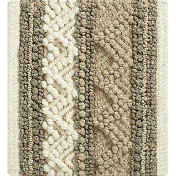 "Mallory Neutral Striped Wool-Blend 12"" sq. Rug Swatch"