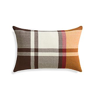 "Maple Plaid 24""x16"" Pillow with Feather-Down Insert"