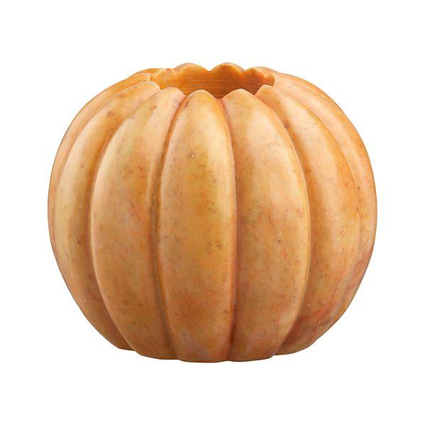 Large Marble Pumpkin Candleholder