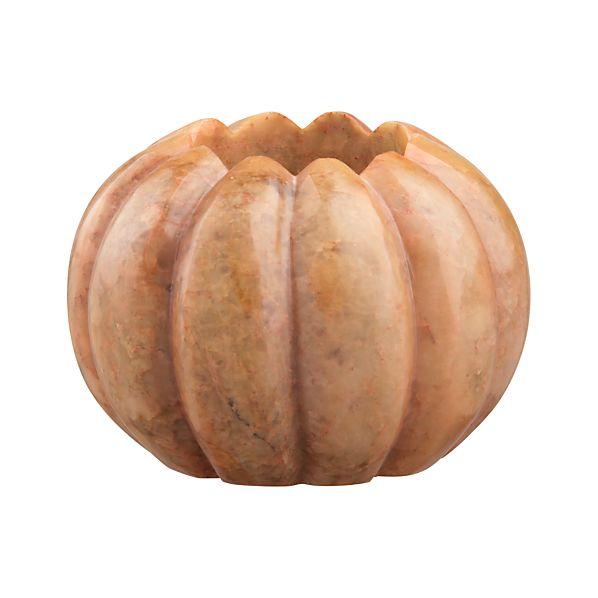 Small Marble Pumpkin Candleholder