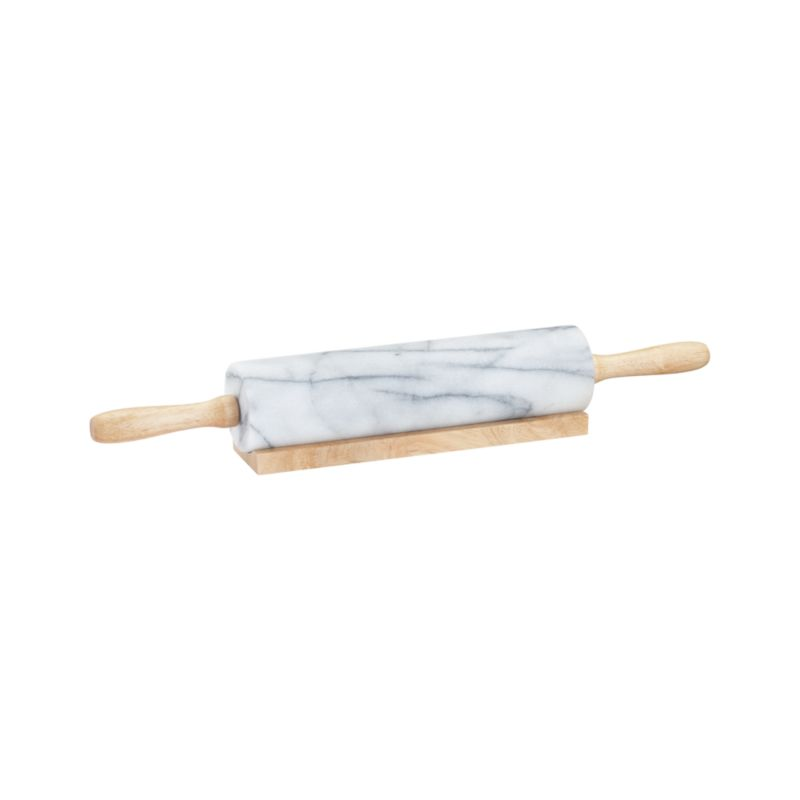 White Marble Rolling Pin With Stand Crate And Barrel