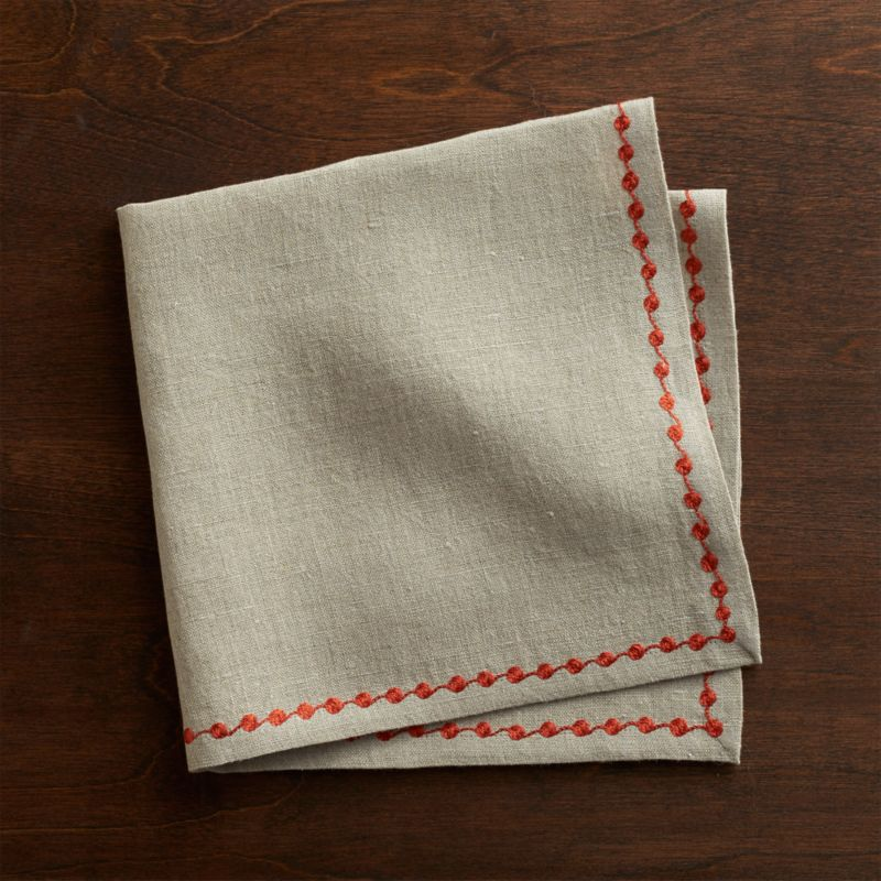 Orange embroidery traces a dotted trail on natural linen napkin. Mix and match with Marianna Sprig napkins and coordinating placemats and runners.<br /><br /><NEWTAG/><ul><li>100% linen</li><li>Machine wash separately in cold water, dry flat</li><li>Do not dry clean, iron or bleach</li><li>Made in India</li></ul>
