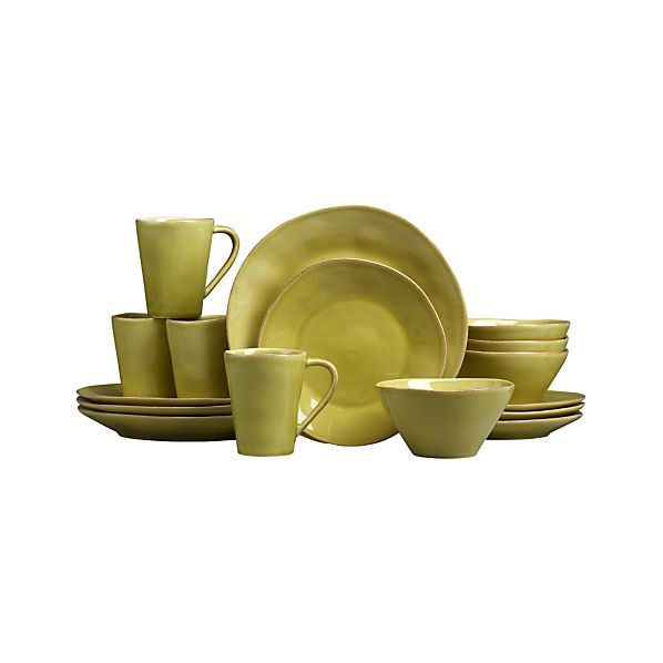 Marin Green 16-Piece Dinnerware Set in Dinnerware Sets | Crate and ...